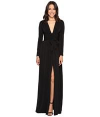 Halston Long Sleeve Jersey Gown With Tie And Front Slit Black Women's Dress