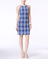 Nine West Floral Lace Halter Sheath Dress Blue White
