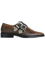 Toga Buckled Embossed Pointed Toe Shoes Brown