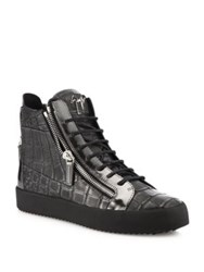 Giuseppe Zanotti Metallic Leather High Top Sneakers Anthracite