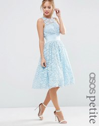 Asos Petite Salon Lace Applique Midi Prom Dress Blue