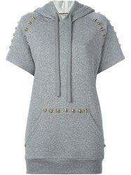 Amen Studded Short Sleeved Hoodie Grey