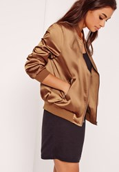 Missguided Zip Pocket Satin Bomber Bronze Bronze