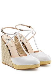 Fendi Patent Leather T Strap Wedges White