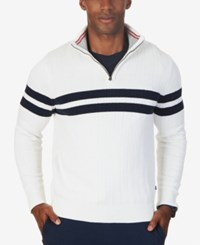 Nautica Men's Ribbed Quarter Zip Sweater Only At Macy's Marshmallow