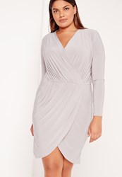 Missguided Plus Size Slinky Wrap Dress Grey Grey