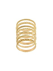 Wouters And Hendrix Gold Set Of 7 Sculpted Rings Metallic