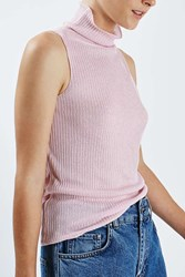 Boutique Gauzy Funnel Halter Top By Pink