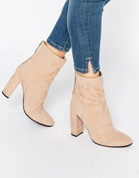 Faith Suede Calf Heeled Boots Sand Suede Beige