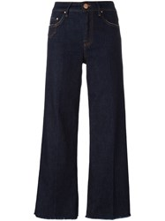 Don't Cry Bootcut Cropped Trousers Blue