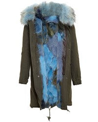 Mr And Mrs Italy Long Fox Fur Lined Parka Khaki Green Electric Blue Dark Brown Multi
