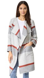 Cupcakes And Cashmere Jolie Yarn Dyed Stripe Blanket Coat Burnt Sienna