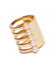 Mounser Eternity 4Mm Pink Cultured Pearl Tall Ring Gold