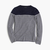 J.Crew Collection Cashmere Long Sleeve T Shirt In Stripe Midnight Snow