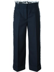 Thom Browne Frayed Edge Cropped Trousers Blue