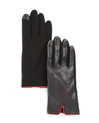 Lauren Ralph Lauren Color Stitch Gloves Black Red