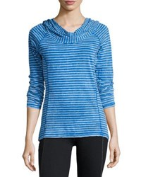 Andrew Marc New York Striped Long Sleeve Hooded Tee Skydvr Wht