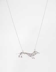 And Mary Necklace With Dachshund Charm Silverplated