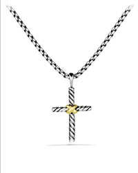 Petite X Cross With Gold On Chain David Yurman