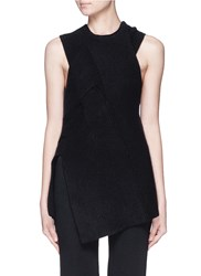 3.1 Phillip Lim Draped Wool Yak Cashmere Sleeveless Knit Top Black