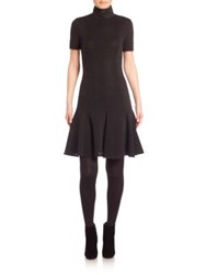 Akris Punto Rib Knit Turtleneck Drop Waist Jersey Dress Black