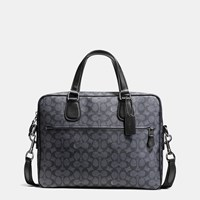 Coach Hudson 5 Bag In Signature Coated Canvas Black Antique Nickel Charcoal