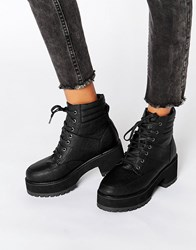 Asos Rator Chunky Lace Up Ankle Boots Black
