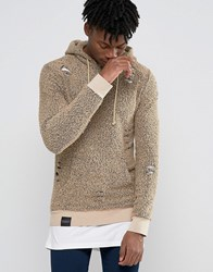 Criminal Damage Hoodie With Distressing Beige