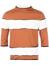 Telfar Striped High Neck T Shirt Brown