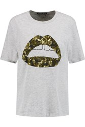 Markus Lupfer Lara Sequin Embellished Cotton Blend Jersey T Shirt Gray