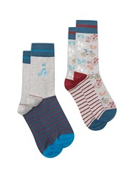 White Stuff Bicycle Socks 2 Pack Multi Coloured