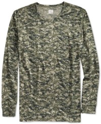 32 Degrees Heat By Weatherproof Thermal Long Sleeve Crew Green Camo