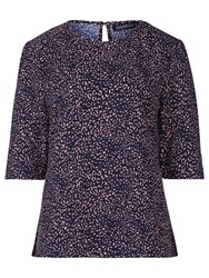 Sugarhill Boutique Louise Leopard Print Top Navy Pink
