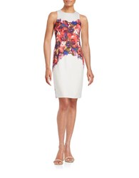 Maggy London Floral Sheath Dress Cream Scarlet
