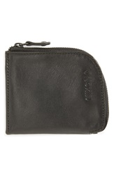 Nixon 'Bayside' Leather Half Zip Wallet Black