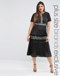 Truly You Tiered Premium Lace Midi Dress Black