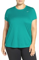Nike Plus Size Women's 'Miler' Dri Fit Extended Short Sleeve Top Teal Charge
