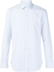 Salvatore Piccolo Pencil Stripe Shirt Blue