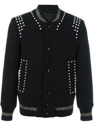 Marc Jacobs Studded Bomber Jacket Blue