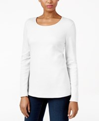 Karen Scott Long Sleeve Scoop Neck Top Only At Macy's Bright White