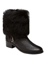 Delman Minka Leather And Shearling Cuff Ankle Boots