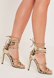 Missguided Metalic Heeled Strappy Gladiator Heels Gold
