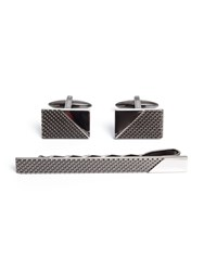Paul Costelloe Amos Gunmetal Cufflink And Tie Slide Set Gunmetal