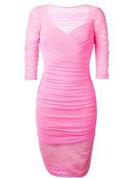 Versace Tulle Bodycon Dress Pink And Purple