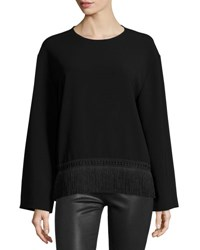 Public School Riza Long Sleeve Crepe Fringe Trim Top Black