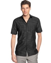 Alfani Big And Tall Short Sleeve Warren Shirt Deep Black