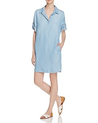 Aqua Chambray Shirt Dress Marble Blue