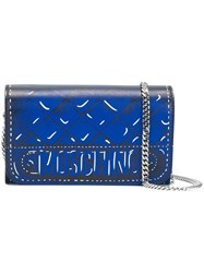 Moschino Trompe L'ail Quilted Chain Wallet Blue