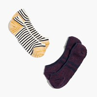 Madewell Two Pack Striped Low Profile Socks Navy Burg Cream