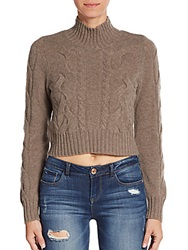 Design History Super Crop Cashmere Mockneck Sweater Brown